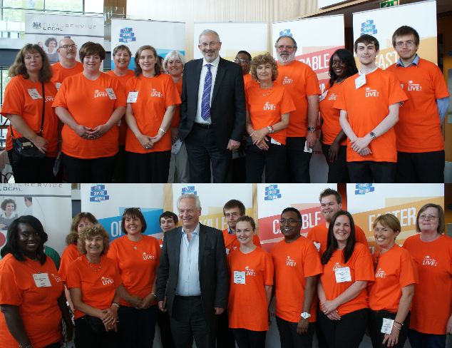 photo of Sir Bob and Francis Maude with CS Live volunteers