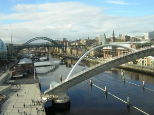 view of Newcastle and bridges from Gateshead