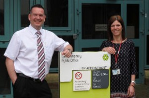 Chris and Chris from the Land Registry outside their office
