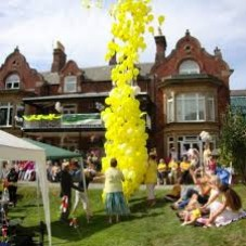 Ballon release at outdoor party
