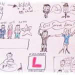 Cartoon drawing of meeting