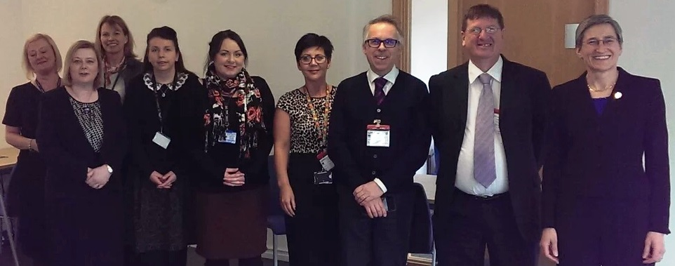 L-R : Anna Bradley (Academy graduate 2015), Michèle Crawford (CS Local NE/YH Co-ordinator), Alice Ackrill (Assistant Private Secretary to Clare Moriarty), Julie Anderson-Morgan (Academy graduate 2015), Victoria Faulder (Academy Graduate 2015 and Civil Service Local NE/YH Support), Clare Garnham (Academy graduate 2015) Steve Benson (CI Network Lead YH), John Ryder (Deputy Director in Department of Health), Clare Moriarty (Permanent Secretary -DEFRA)