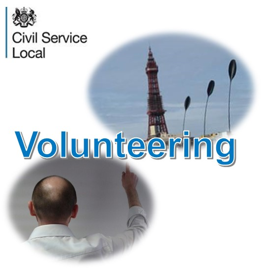 Blackpool tower, a man putting-up his hand, and text: volunteering
