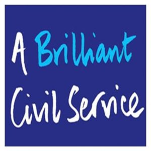 A Brilliant Civil Service written on a blue background