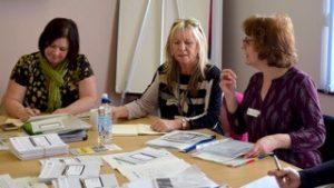 Volunteers discuss ideas