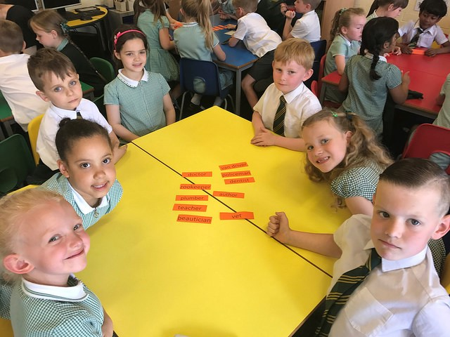Children around a table