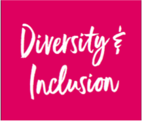 Diversity and Inclusion written on a pink background
