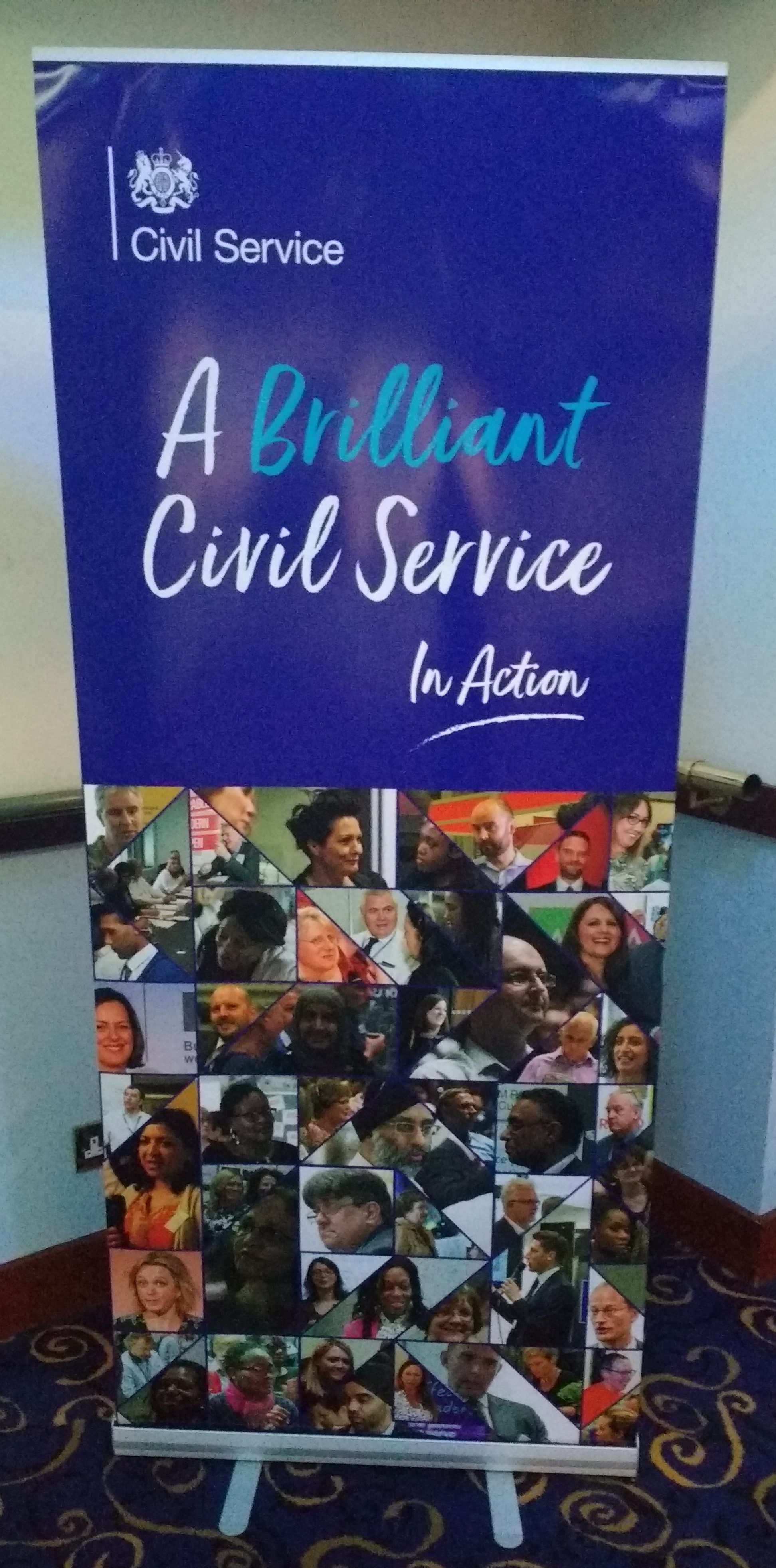 'A Brilliant Civil Service In Action' pop-up banner
