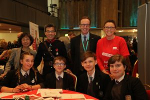 Pupils and volunters at the event