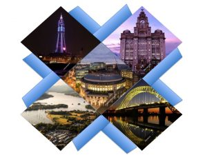 Blackpool Tower, Liver Building, Manchester Central Library, Runcorn-Widnes bridge, Lake District