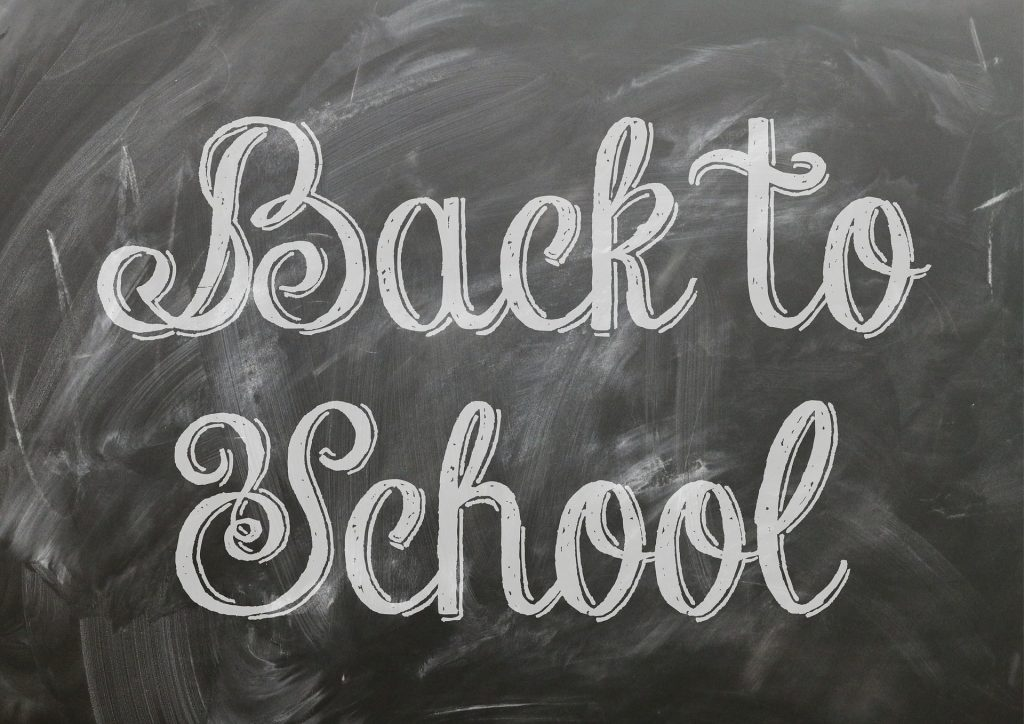 back to Scool written in white chalk on blackboard