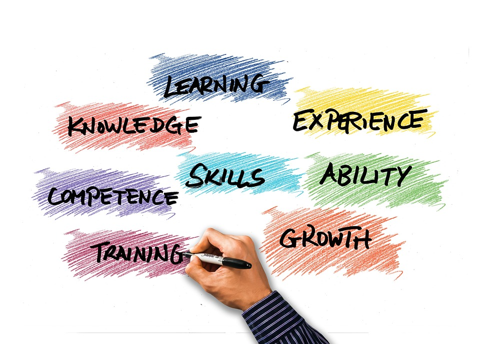 Hand writing the words learning, experience, knowledge, skills, ability, competence, training, growth