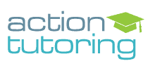 Action Tutoring in blue letters with a green mortarboard