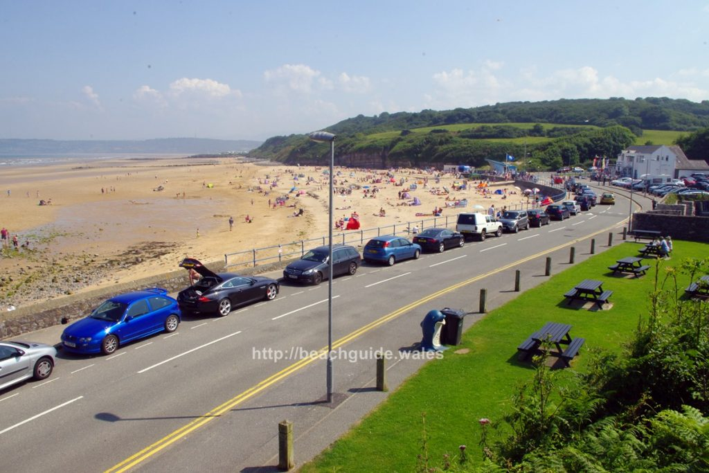 Beach road with parked cars