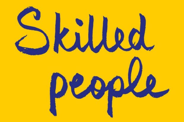 Skilled people written on yellow background