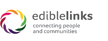 "The ediblelinks logo which is a multicoloured circle. The words next to it are ""ediblelinks connecting people and communities"""