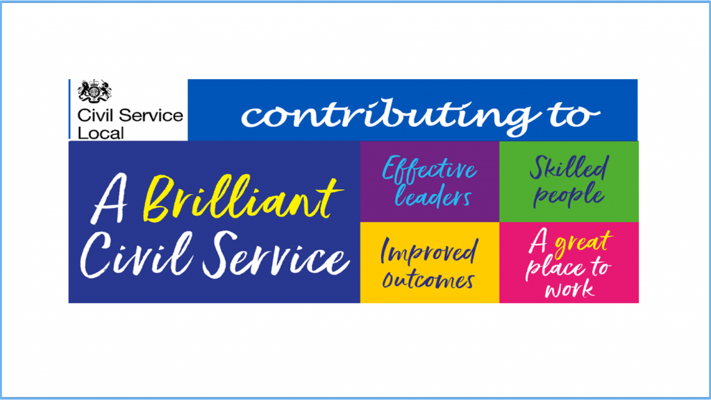 Our banner showing the CS Local logo followed by 'contributing to' and the 'A Brilliant Civil Service' Logos