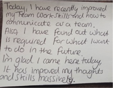 "Copy of a Post It note written by student attaending - they have written ""Today I have really improved my Team Work Skills and how to communicate as a team. Also, I have found out what is required for what I want to do in the future . I'm glad I cam here today. It has improved my thoughts and skills massively"""