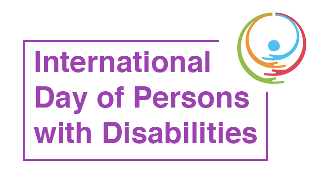 International day of persons with disabilities with a encircling arms in top right