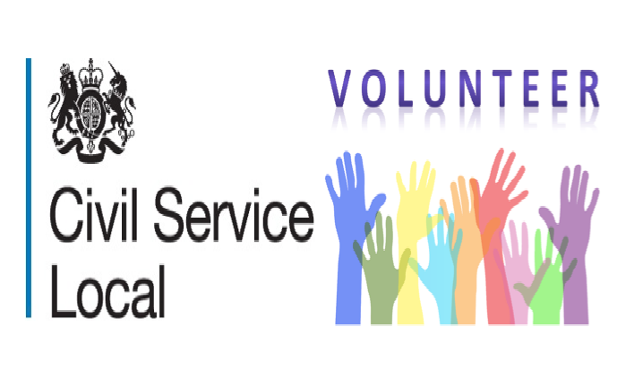 CS Local logo next to colourful hands waving and words volunteer