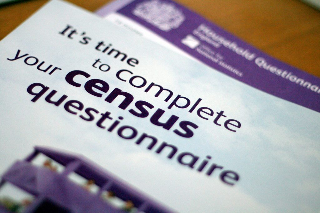 A close up of the census form wit the words Its time to complete census questionaire