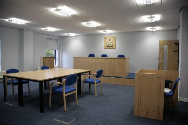 A picture of an empty mock court used for training in Glasgow