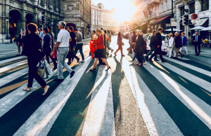 crowd of people at a pedestrian crossing