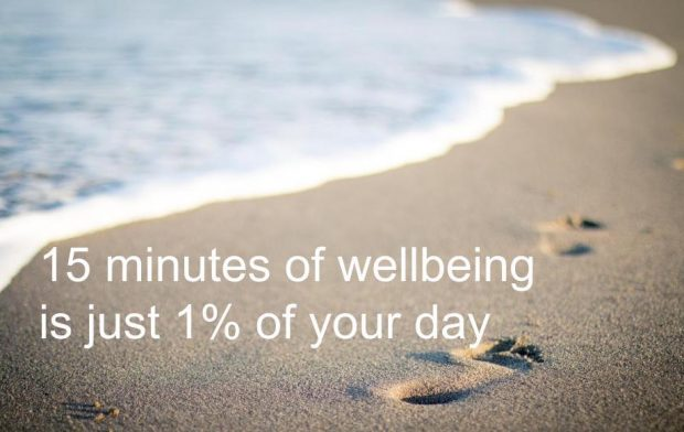 15 minutes of wellbeing is 1% of your day written over sand
