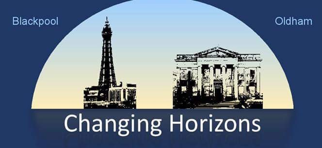 Changing Horizons logo featuring drawings of Blackpool Tower and Oldham town hall.