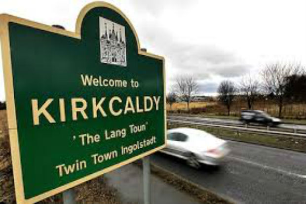 Signpost for Kirkcaldy