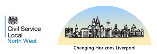 Illustrating Changing Horizons event with drawing of Liverpool skyline featuring Liver Building, Anglican cathedral and Metropolitan cathedral.