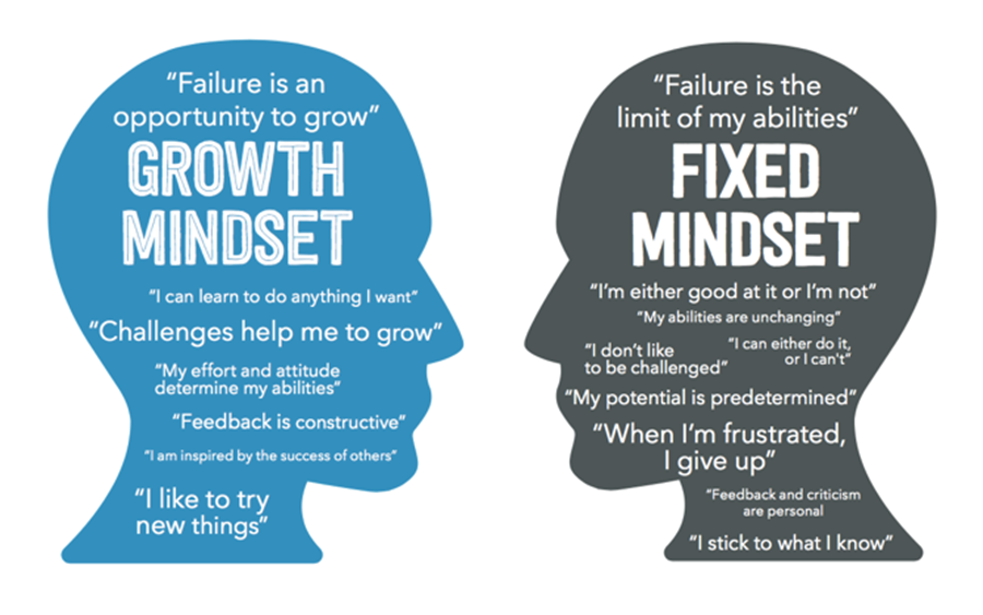 "Two head silhouettes facing each other. Growth Mindset profile includes the quotes ""failure is an opportunity to grow"", ""challenges help me grow"", ""I can learn to do anything I want"", ""My effort and attitude determine my abilities"", ""Feedback is constructive"", ""I like to try new things"". The Fixed Mindset profile states ""Failure is the limit of my abilities"", I'm either good at it or I'm not"", ""My abilities are unchanging"", ""I don't like to be challenged"", ""My potential is predetermined"", ""When I'm frustrated I give up"", ""I stick to what I know""."