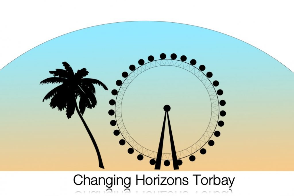 shadow of a big wheel with a tree and the words 'Changing Horizons Torbay' underneath