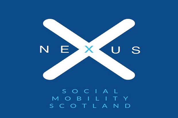 Scotland Flag with Nexus written through middle, Social Mobility Scotland underneath