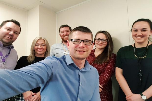 Selfie of six people