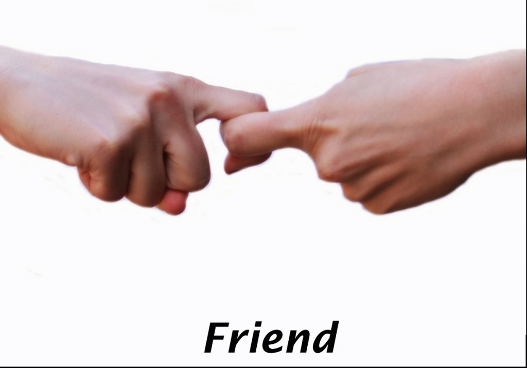 Index fingers linked in hand sign for friend. The word friend is printed beneath.