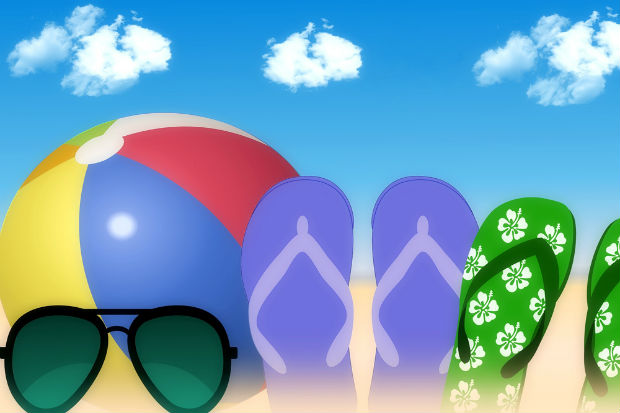 beach ball, sunglasses, flipflops blueskies portraying summer holidays