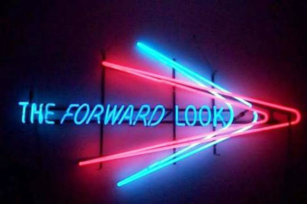 The words forward look in an arrow going right