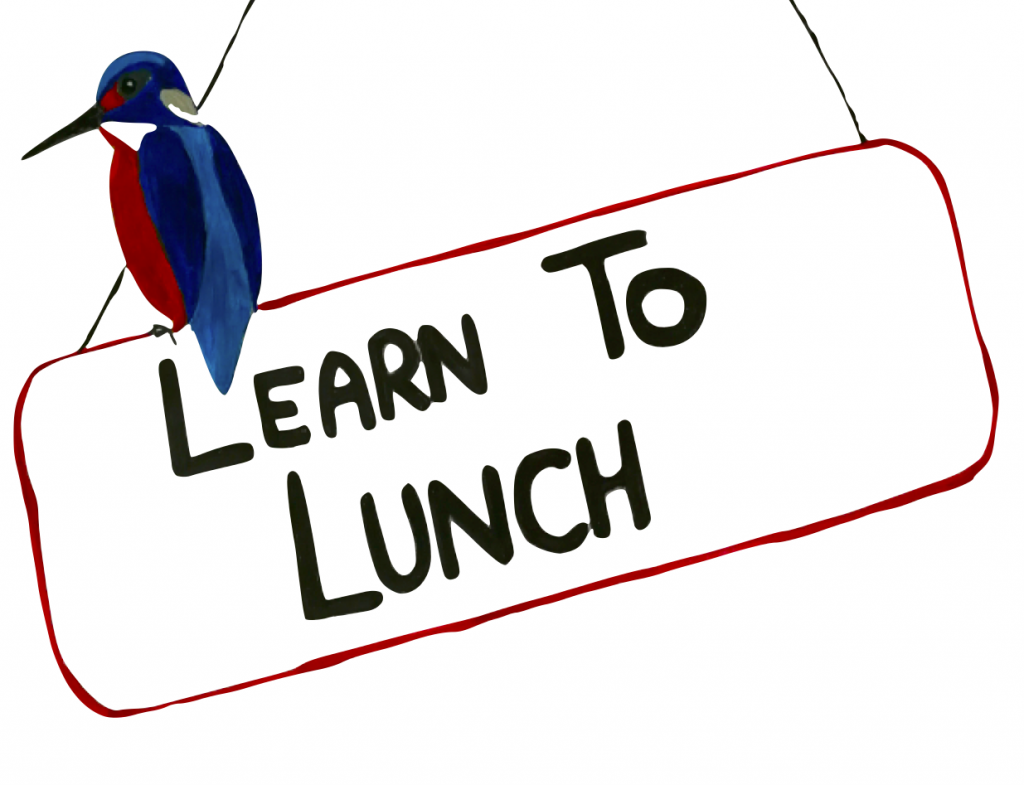 sign saying learn to lunch with kingfisher sitting on top