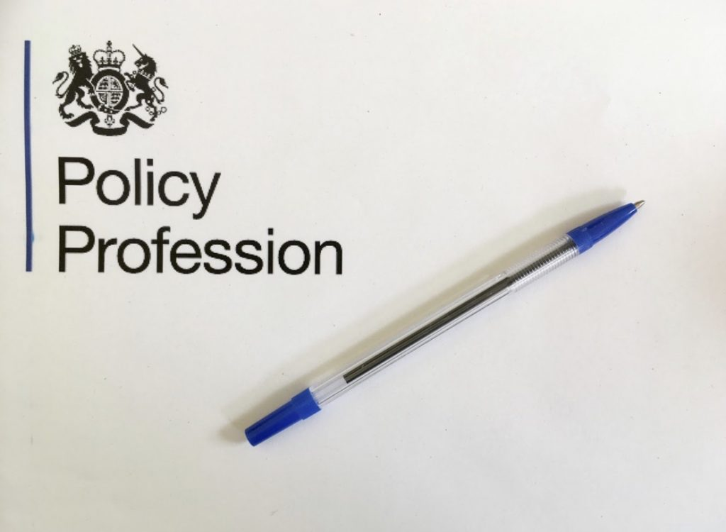Policy profession logo alongside a ballpoint pen