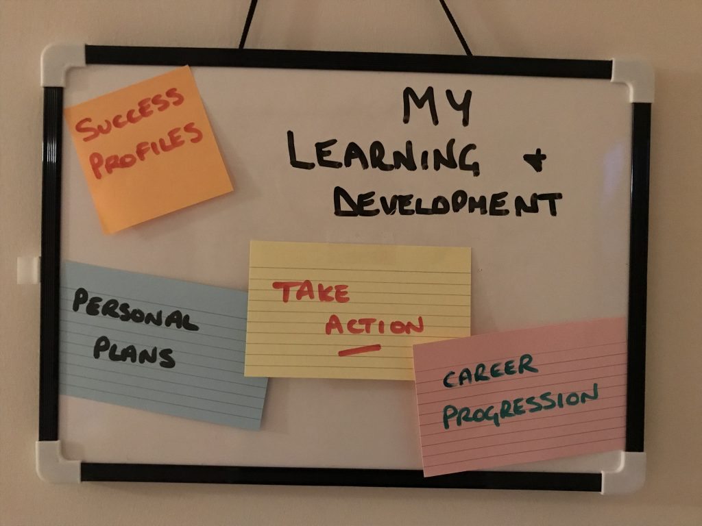 Sign for my learning and development,indicating success profiles, career progression, personal plans and take action.