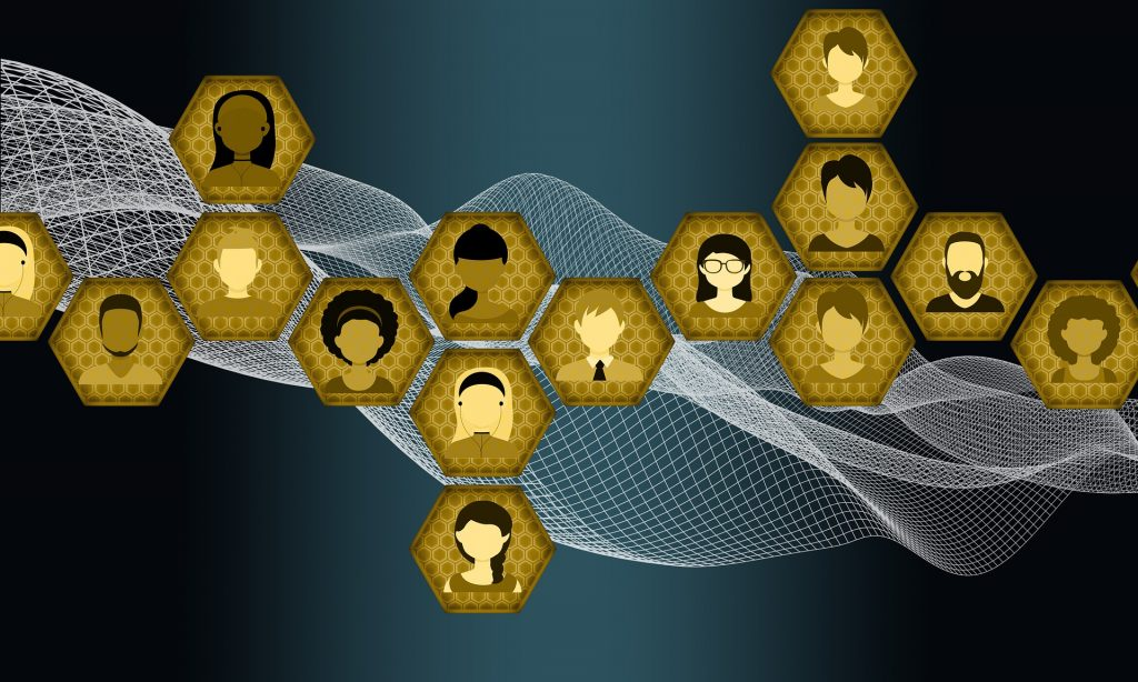 yellow hexagons with diverse people heads
