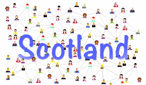 drawings of interconnected people with the word Scotland overlaid