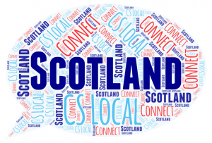 Word cloud featuringthe words Scotland, Connect and CS Local