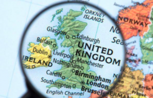 Part of world map with UK magnified