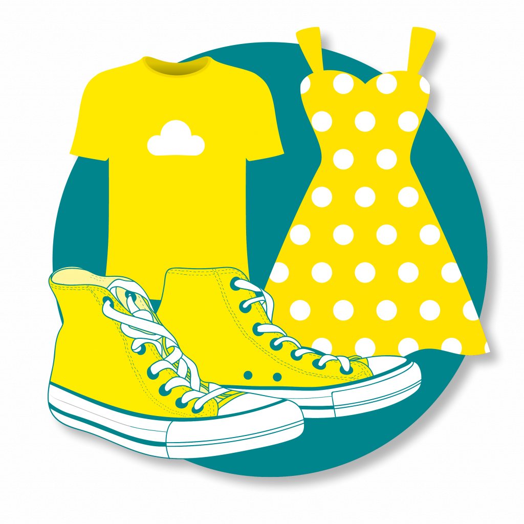 Yellow clothes and shoes