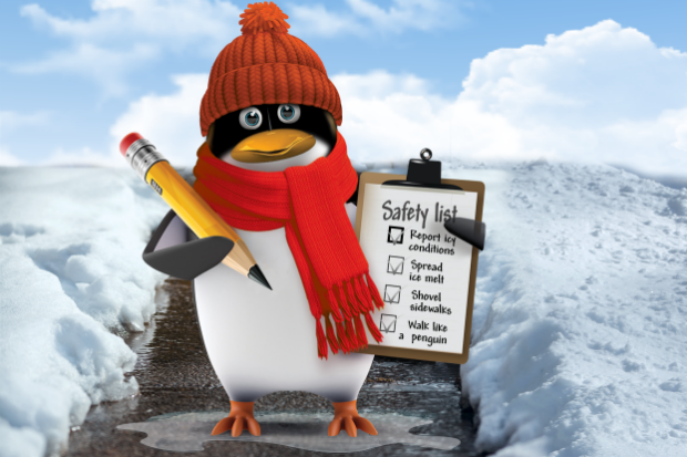 A penguin in icy conditions wrapped up with a scarf, hat, a clipboard and pen with a list of ways to prevent slips and trips in the ice.
