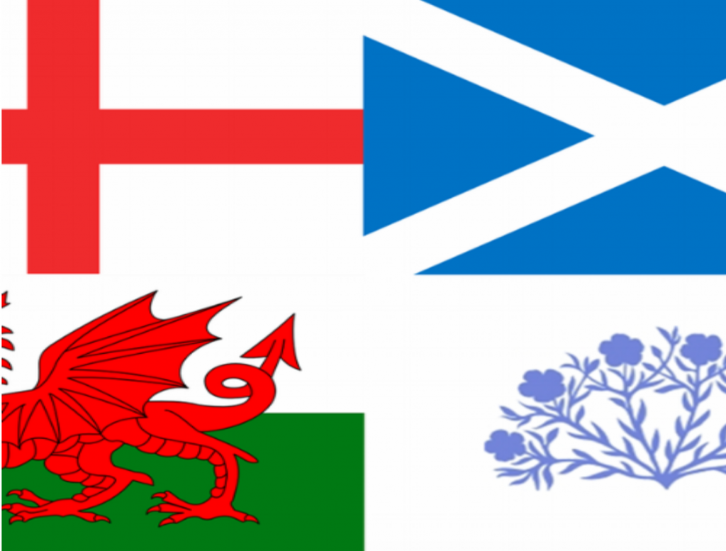 4 flags - England, Wales, Scotland and Northern Ireland