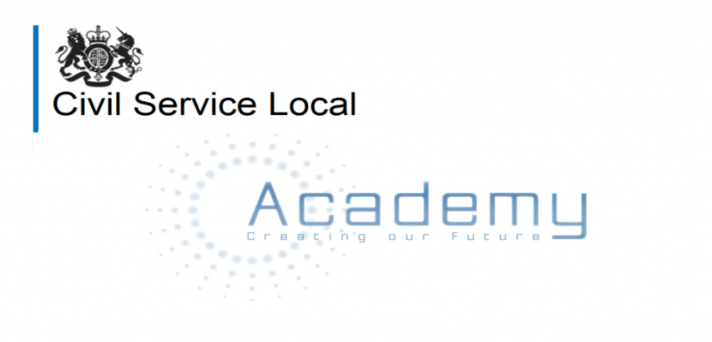 Crest saying Civil Service Local and the words 'Academy: Creating our future'.
