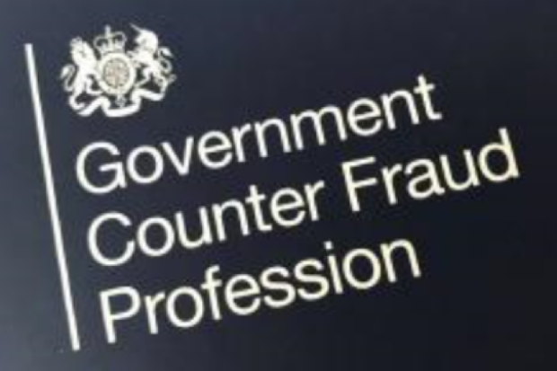 Black background with white writing that says Government Counter fraud Profession